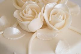 Close up of Pale pink roses for Wedding Cake