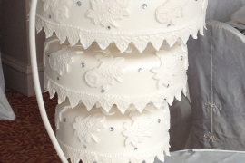 Upside down Wedding Cake with Lace detail