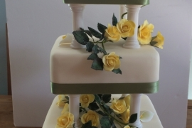 3 Tiered Square Traditional Wedding Cake - Copy - Copy - Copy