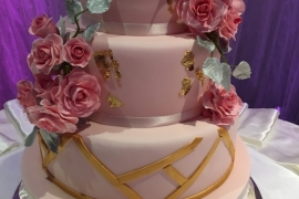 3 Tiered fondant Wedding Cake with handmade Roses - Copy - Copy - Copy