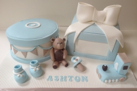 Boys Blue & White Christening Cake