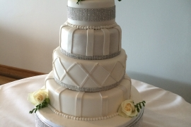 4 tiered Bling Bling Striking Wedding Cake