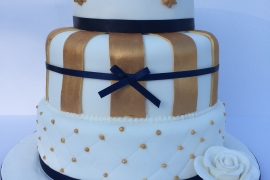 3 Tiered White/Gold and Navy Wedding Cake