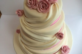 Swags and Sugar roses Wedding Cake