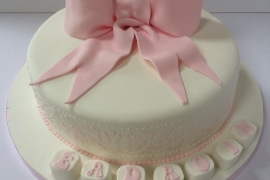 Girls Christening Cake with Bow