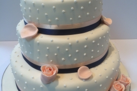 Petal And Pearls Wedding Cake