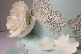 Handmade Peony Flower with Edible Lace Wedding Cake