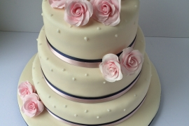 Pink Roses with Navy Ribbon Wedding Cake