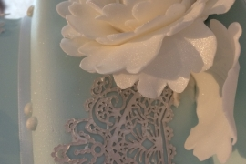 Close Up of Edible Lace And Peony Flower