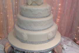 3 tiered Wedding Cake with Sugar Brooch effect and Lace