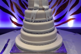 Elegant 4 tiered Wedding Cake with Fondant Ribbon and Bow