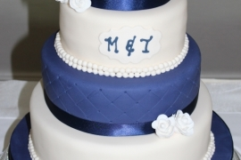 Navy And White Wedding Cake - Copy