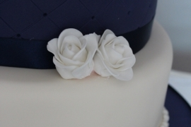 Navy and White Wedding Cake Close-up - Copy