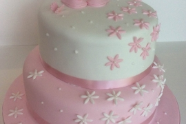 Girls 2 Tiered Christening Cake