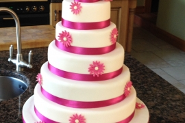 5 Tiered Cerise Pink & Ivory Wedding Cake