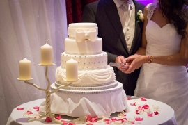 Elegant, Classic 4 tiered Wedding Cake with Bow